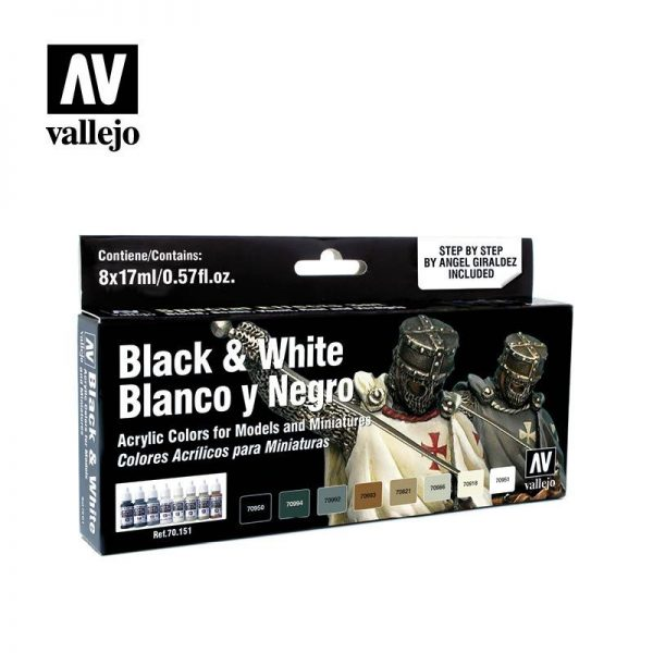 Vallejo   Paint Sets Vallejo Model Color Set - Black and White - VAL70151 - 8429551701518