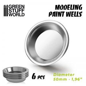 Green Stuff World   Paint Palettes Modelling Paint Wells x6 - 8436574508604ES - 8436574508604