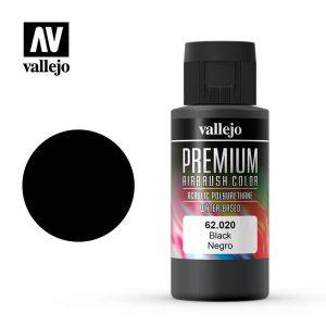 Vallejo   Premium Airbrush Colour Premium Color 60ml: Black - VAL62020 - 8429551620208
