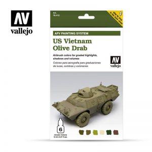 Vallejo   Model Air AV Armour Set - US Vietnam Olive Drab (6 x 8ml) - VAL78412 - 8429551784122