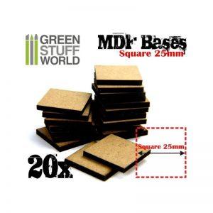 Green Stuff World   Plain Bases MDF Bases - Square 25 mm - 8436554366422ES - 8436554366422