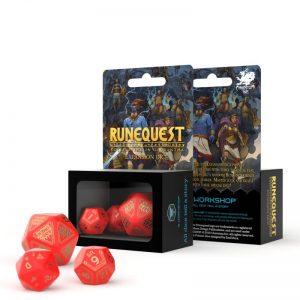Q-Workshop   Q-Workshop Dice RuneQuest Red & gold Expansion Dice (3) - SRQE53 - 5907699494934