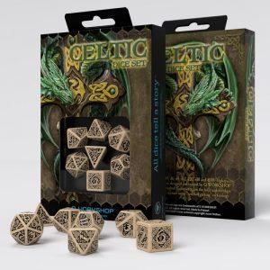 Q-Workshop   Q-Workshop Dice Celtic 3D Revised Beige & black Dice Set (7) - SCER18 - 5907699491698