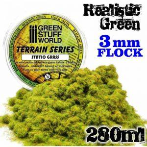 Green Stuff World   Sand & Flock Static Grass Flock - Realistic Green 3 mm - 280 ml - 8436554365685ES - 8436554365685
