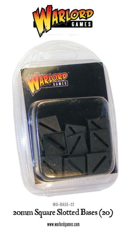 Warlord Games   Plain Bases 20mm Square Slotted Bases (20) - WG-BASE-22 - 5060200848326