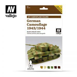 Vallejo   Model Air AV Armour Set - German Camouflage 1943/1944 (6 x 8ml) - VAL78414 - 8429551784146