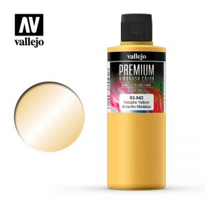 Vallejo   Premium Airbrush Colour Vallejo Premium Color - 200ml Pearl & Metallics Yellow - VAL63042 - 8429551630429