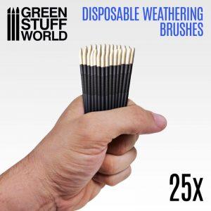 Green Stuff World   Green Stuff World Brushes 25x Disposable Weathering Brushes - 8436574507799ES - 8436574507799