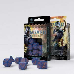 Q-Workshop   Wizard Wizard Dark Blue & Orange Dice Set (7) - SWIZ90 - 5907699493913