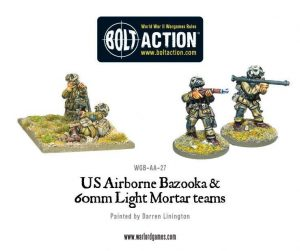Warlord Games Bolt Action  USA (K47) US Airborne Bazooka & 60mm light mortar team - WGB-AA-27 - 5060200847374