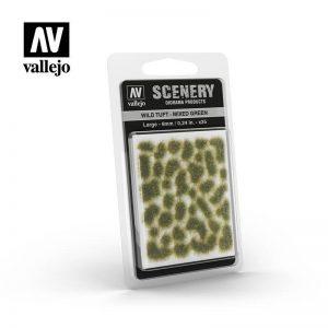 Vallejo   Vallejo Scenics AV Vallejo Scenery - Wild Tuft - Mixed Green, Large: 6mm - VALSC416 - 8429551986144