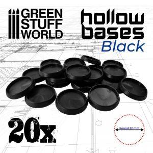 Green Stuff World   Plain Bases Hollow Plastic Bases - BLACK 32MM - 8435646504018ES - 8435646504018