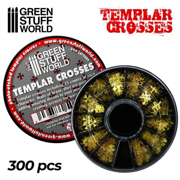 Green Stuff World   Etched Brass Etched Brass Templar Cross Symbols - 8436574508260ES - 8436574508260