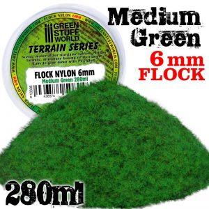 Green Stuff World   Sand & Flock Static Grass Flock 6 mm - Medium Green - 280 ml - 8436574508048 -