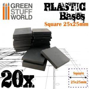 Green Stuff World   Plain Bases Plastic Square Bases 25x25 mm - 8436574503302ES - 8436574503302