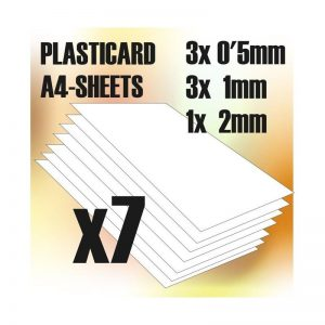 Green Stuff World   Plasticard ABS Plasticard A4 - Plain Variety 7 sheets pack - 8436554366095ES - 8436554366095