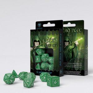 Q-Workshop   Q-Workshop Dice Elvish Green & white Dice Set (7) - SELV14 - 5907814951274