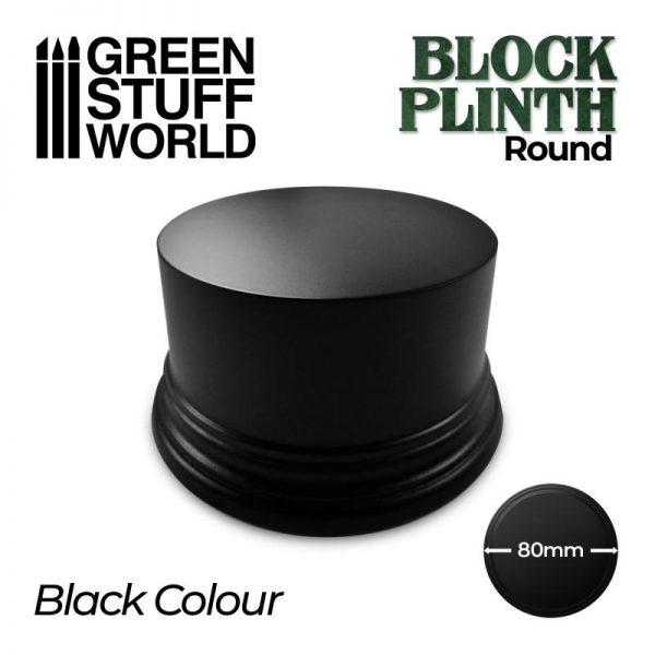 Green Stuff World   Display Plinths Round Block Plinth 8cm - Black - 8435646500621ES - 8435646500621