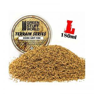 Green Stuff World   Sand & Flock Fine Basing Cork Grit - 180 ml - L - 8436554365777ES - 8436554365777