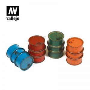 Vallejo   Vallejo Scenics Vallejo Scenics - 1:35 Civilian Fuel Drums - VALSC203 - 8429551984737