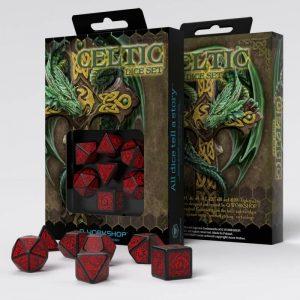 Q-Workshop   Q-Workshop Dice Celtic 3D Revised Black & red Dice Set (7) - SCER06 - 5907699494712