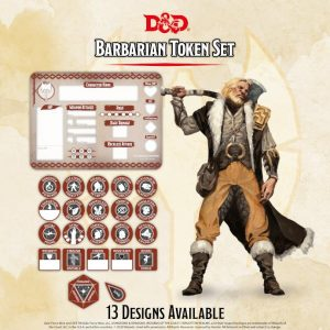 Gale Force Nine Dungeons & Dragons  D&D Extras D&D: Barbarian Token Set (Player Board & 22 tokens) - GFN72510 - 9420020251168