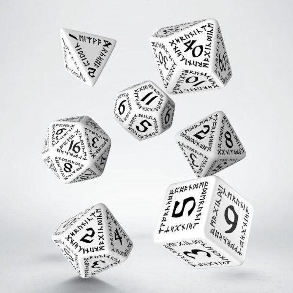 Q-Workshop   Q-Workshop Dice Runic White & black Dice Set (7) - SRUN02 - 5907814951014