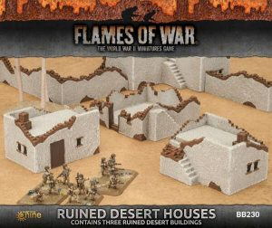 Gale Force Nine   Battlefield in a Box Flames of War: Ruined Small & Medium Desert Houses - BB230 - 9420020236967