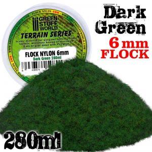 Green Stuff World   Sand & Flock Static Grass Flock 6mm - Dark Green - 280 ml - 8436574508017 -
