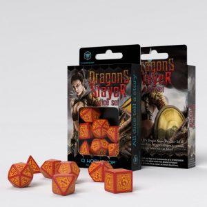 Q-Workshop   Q-Workshop Dice Dragon Slayer Red & orange Dice Set (7) - SDRS1D - 5907699493920