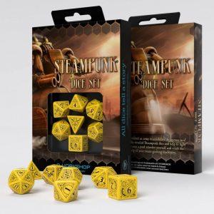 Q-Workshop   Q-Workshop Dice Steampunk Yellow & black Dice Set (7) - SSTE13 -