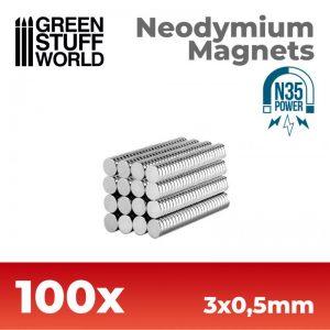 Green Stuff World   Magnets Neodymium Magnets 3x0.5mm - 100 units (N35) - 8436554365593ES - 8436554365593