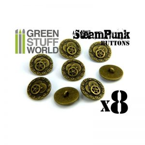Green Stuff World   Costume & Cosplay 8x Steampunk Buttons BOLTS and GEARS - Antique Gold - 8436554366651ES - 8436554366651