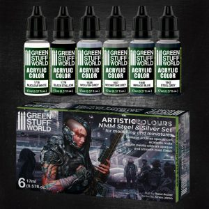 Green Stuff World   Paint Sets Paint Set - NMM Steel and Silver - 8436574506129ES - 8436574506129