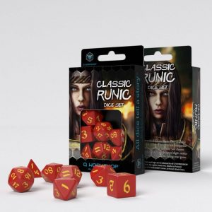 Q-Workshop   RPG / Polyhedral Classic Runic Red & yellow Dice Set (7) - SCLR23 - 5907699494248