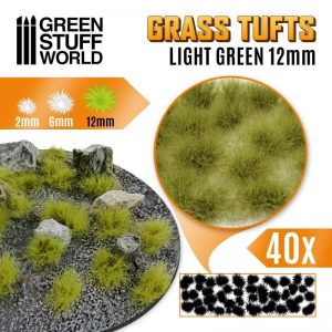 Green Stuff World   Tufts Grass TUFTS - 12mm self-adhesive - LIGHT GREEN - 8435646501666ES - 8435646501666