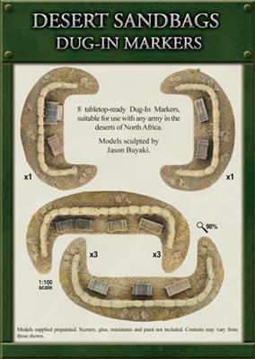 Gale Force Nine   Battlefield in a Box Flames of War: Desert Sandbags Dug In Markers - BB109 - 9420020211230