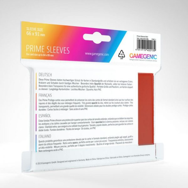 Gamegenic   SALE! Gamegenic Prime Sleeves Red (100 pack) - GGS11015ML - 4251715402139