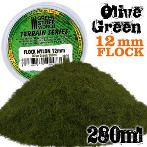 Green Stuff World   Sand & Flock Static Grass Flock 12mm - Olive Green - 280 ml - 8436574504477ES - 8436574504477