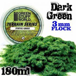 Green Stuff World   Sand & Flock Static Grass Flock 3 mm - Dark Green - 180 ml - 8436554365630ES - 8436554365630