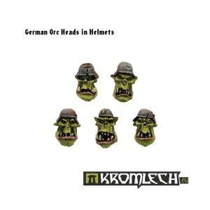 Kromlech   Orc Conversion Parts OW2 German Orc Heads in Helmets (10) - KRCB005 -