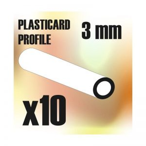 Green Stuff World   Plasticard ABS Plasticard - Profile TUBE 3 mm - 8436554366125ES - 8436554366125