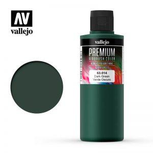 Vallejo   Premium Airbrush Colour AV Vallejo Premium Color - 200ml - Opaque Dark Green - VAL63014 - 8429551630146