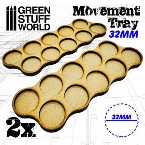 Green Stuff World   Movement Trays MDF Movement Trays 32mm x10 - Skirmish - 8436574502800ES - 8436574502800