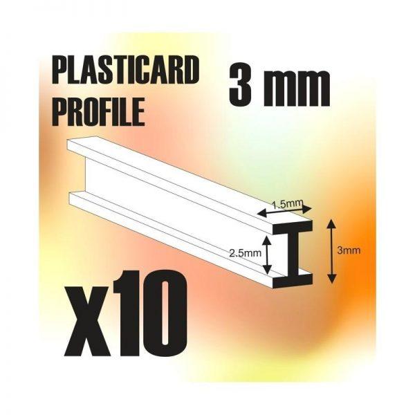 Green Stuff World   Plasticard ABS Plasticard - Profile DOUBLE-T 3 mm - 8436554366255ES - 8436554366255