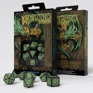 Q-Workshop   Q-Workshop Dice Celtic 3D Revised Black & green Dice Set (7) - SCER21 - 5907699493807
