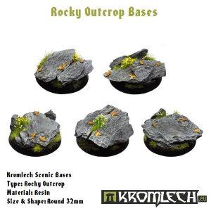 Kromlech   Rocky Outcrop Bases Kromlech Rocky Outcrop Round 32mm (5) - KRRB003 -