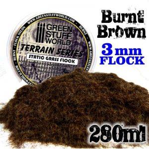 Green Stuff World   Sand & Flock Static Grass Flock 3 mm - BURNT Brown - 280 ml - 8436554368426ES - 8436554368426