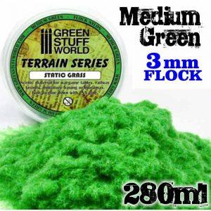 Green Stuff World   Sand & Flock Static Grass Flock 3 mm - Medium Green - 280 ml - 8436554365661ES - 8436554365661