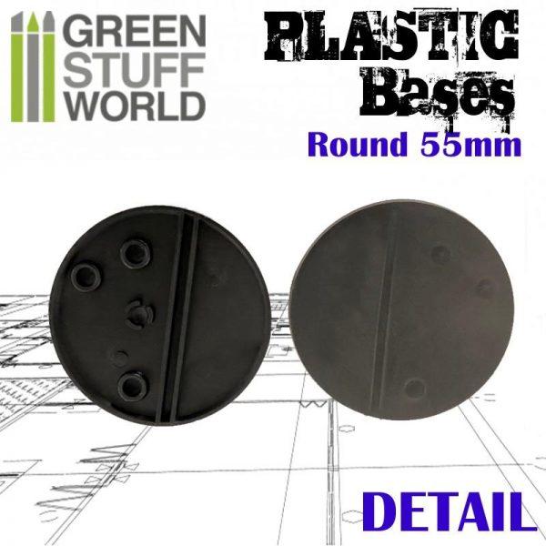 Green Stuff World   Plain Bases Plastic Bases - Round 55 mm BLACK - 8436574503241ES - 8436574503241